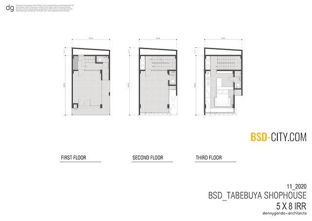 Layout Ruko Tabebuya BSD 5X8
