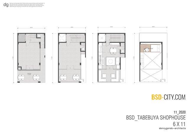 Layout Ruko Tabebuya BSD 6X11