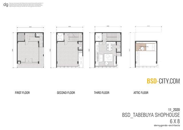 Layout Ruko Tabebuya BSD 6X8