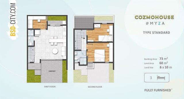 Layout Rumah Tipe Standard Cozmohouse Myza BSD City