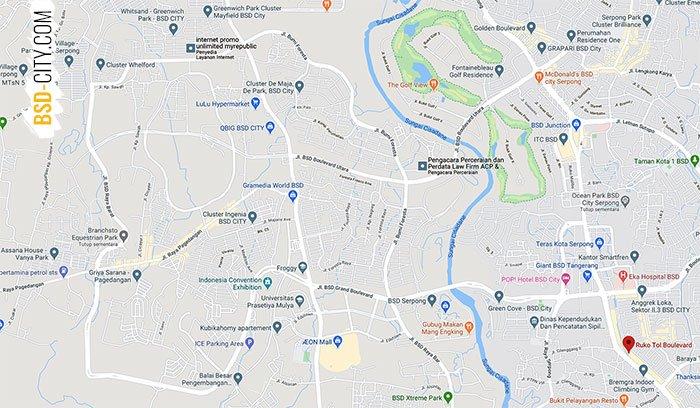 Lokasi Ruko Tol Boulevard BSD