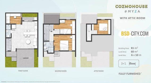 Tipe Rumah Attic Room Cluster Cozmohouse Myza BSD City